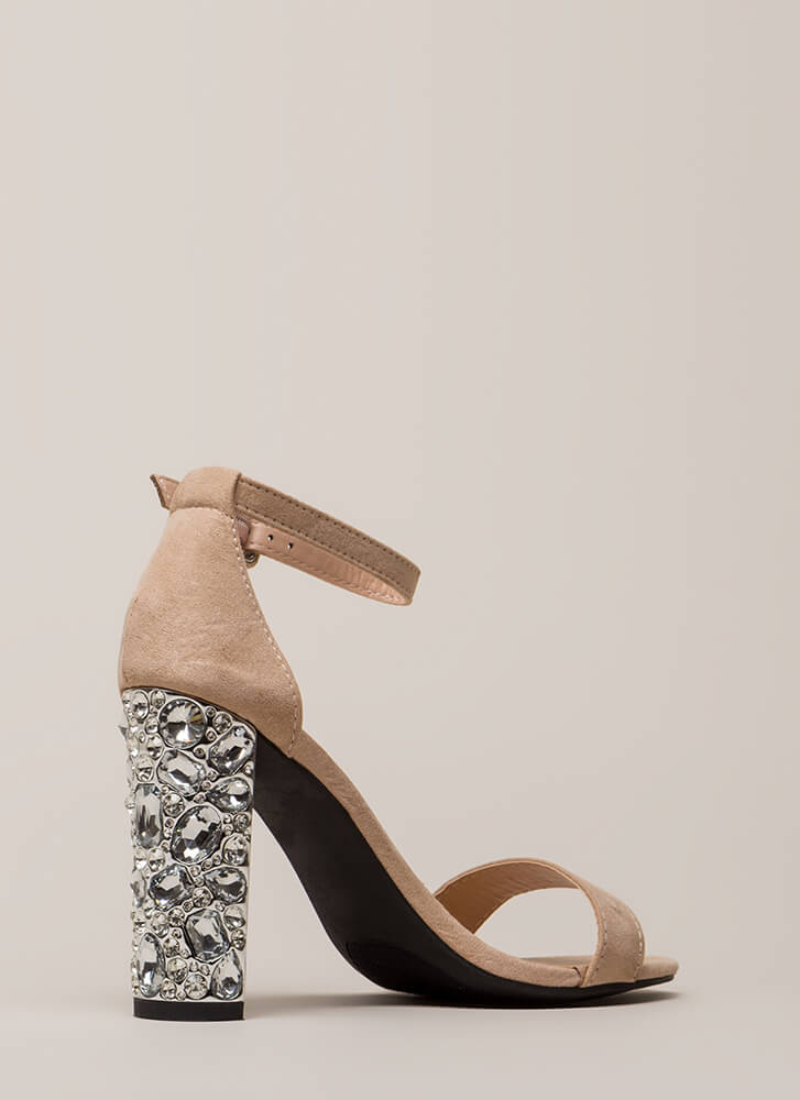 Treasure Trove Chunky Jeweled Heels NUDE
