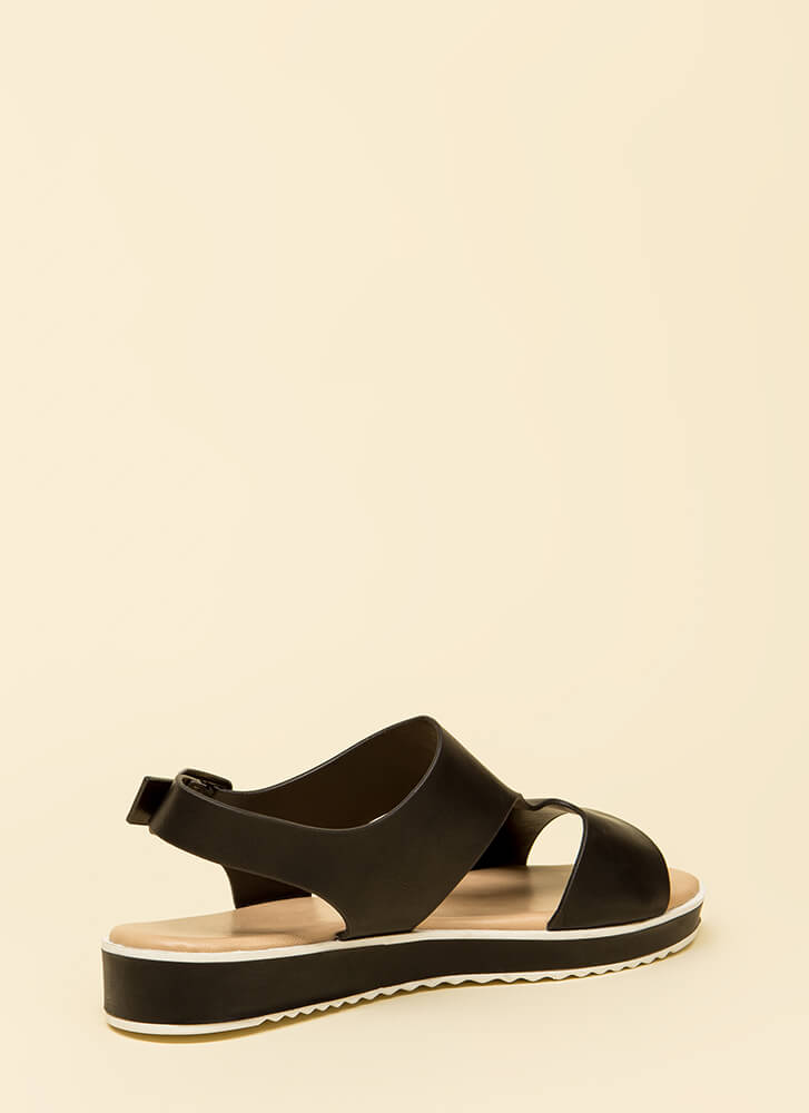 Bestie Cut-Out Platform Sandals BLACK