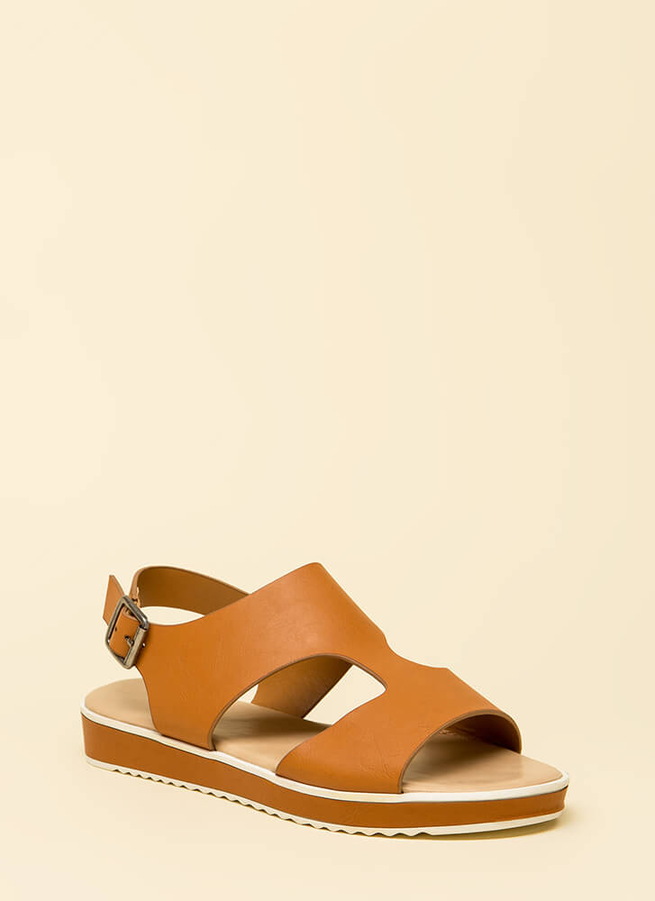 Bestie Cut-Out Platform Sandals TAN