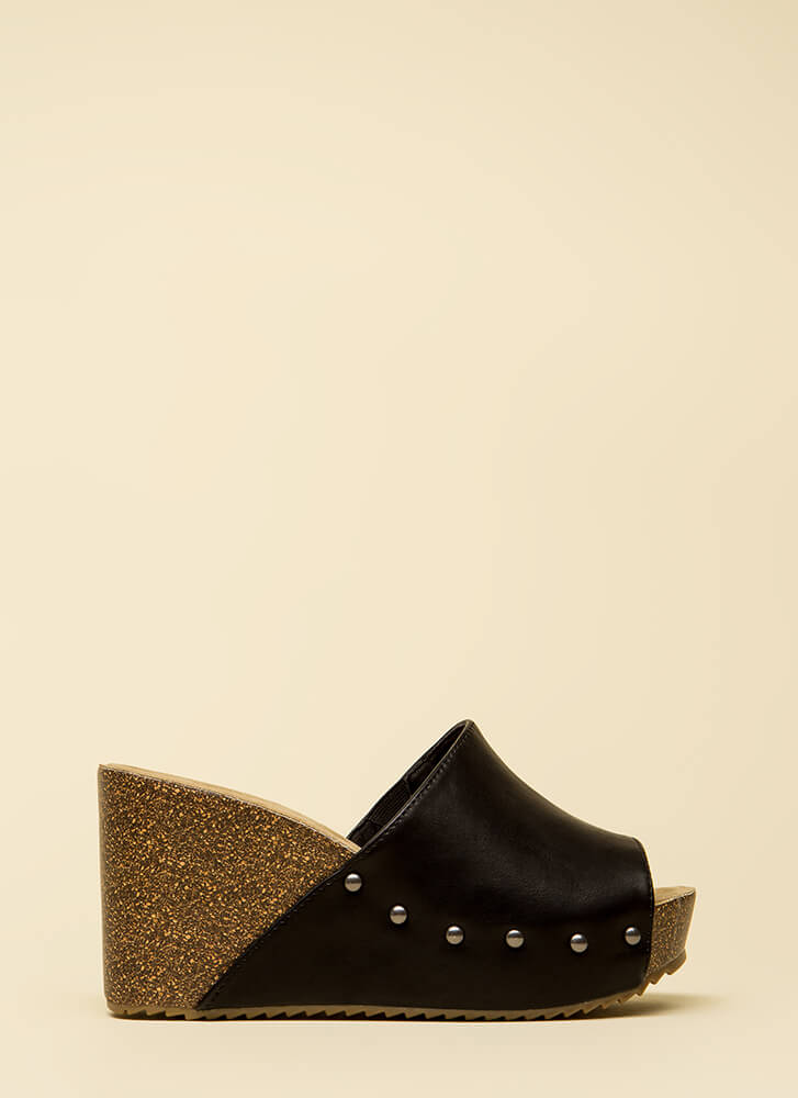 Hurry Up Studded Faux Leather Wedges BLACK
