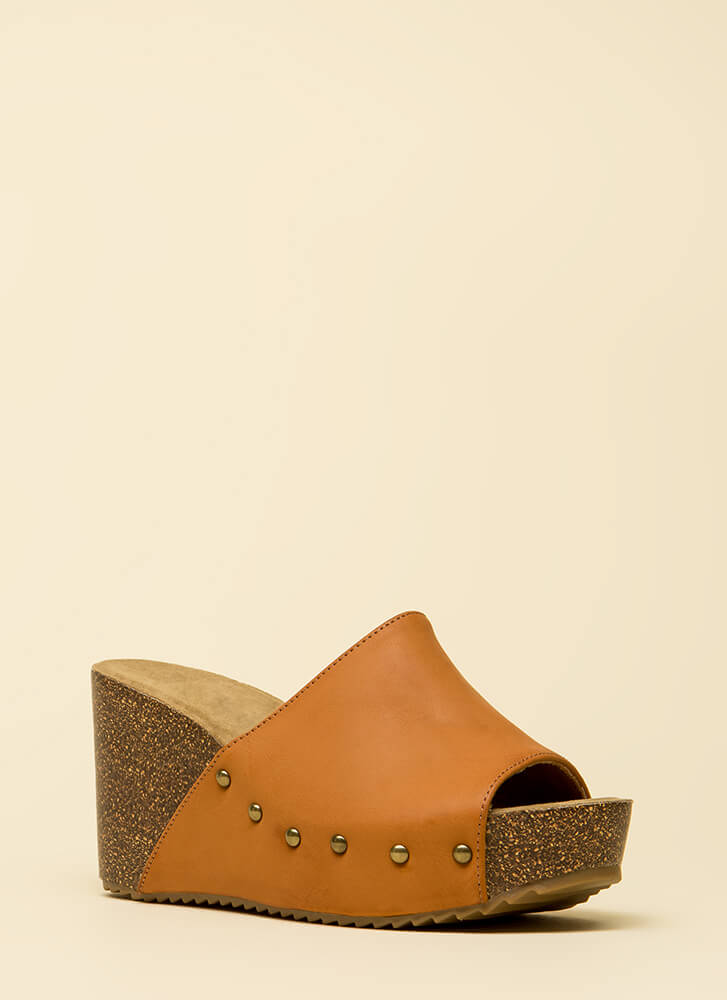 Hurry Up Studded Faux Leather Wedges TAN