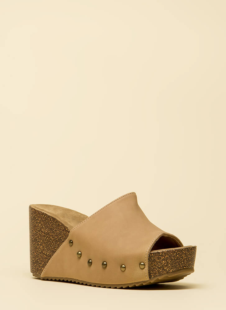 Hurry Up Studded Faux Nubuck Wedges NATURAL