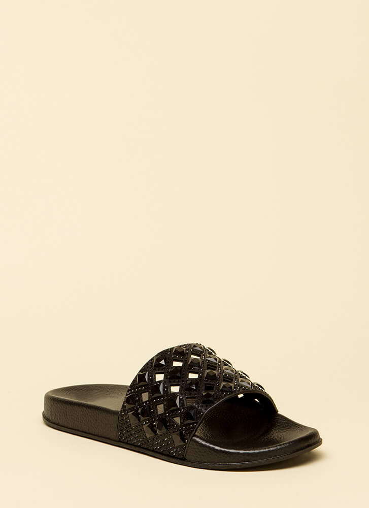 Diamonds Jeweled Cut-Out Slide Sandals BLACK