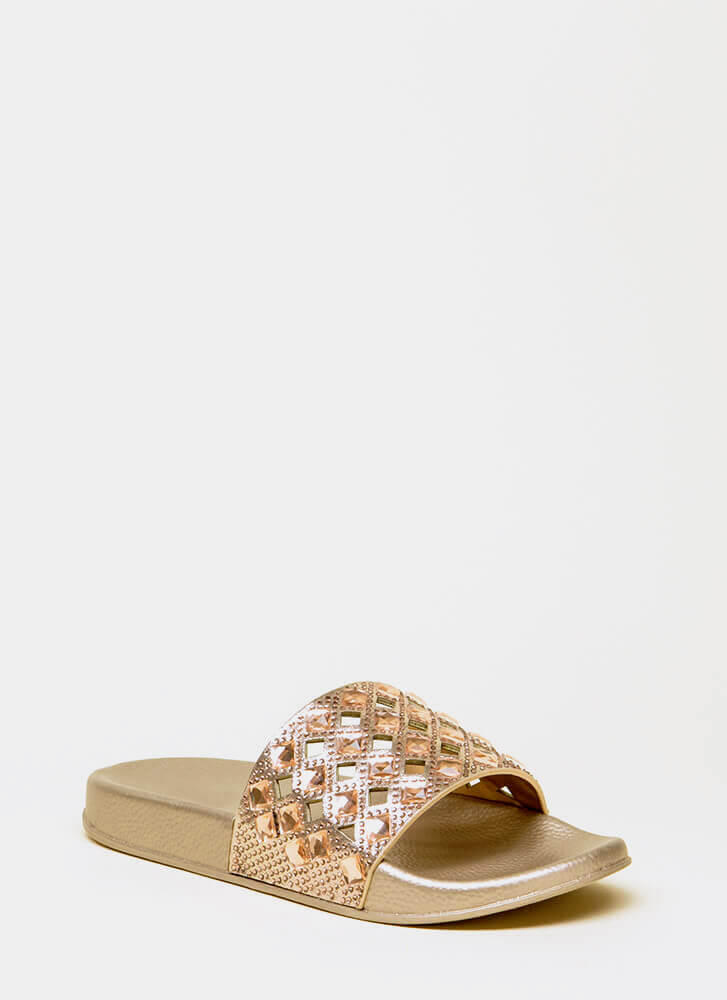Diamonds Jeweled Cut-Out Slide Sandals ROSEGOLD