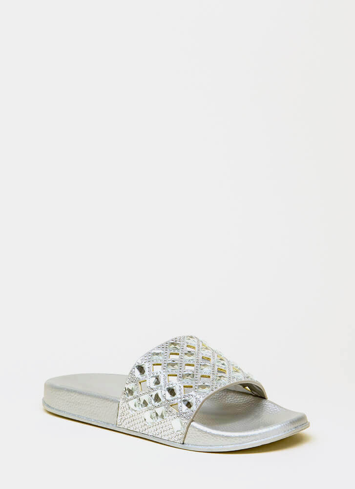 Diamonds Jeweled Cut-Out Slide Sandals SILVER