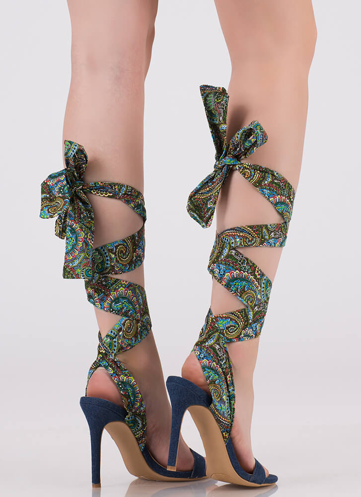 e920f6d801a0 Pretty In Paisley Lace-Up Denim Heels BLUE - GoJane.com