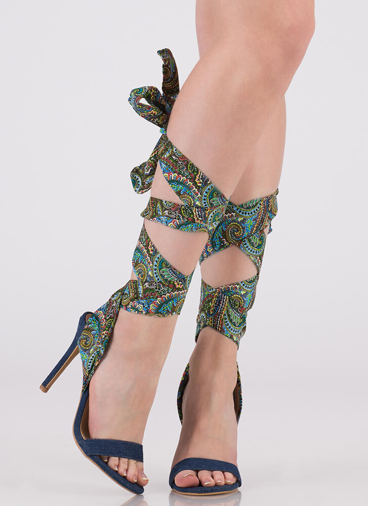 Pretty In Paisley Lace-Up Denim Heels BLUE