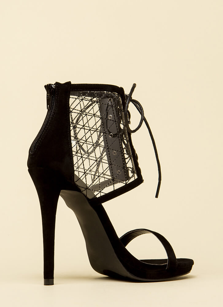 Clear Advantage Stitched Lace-Up Heels BLACK