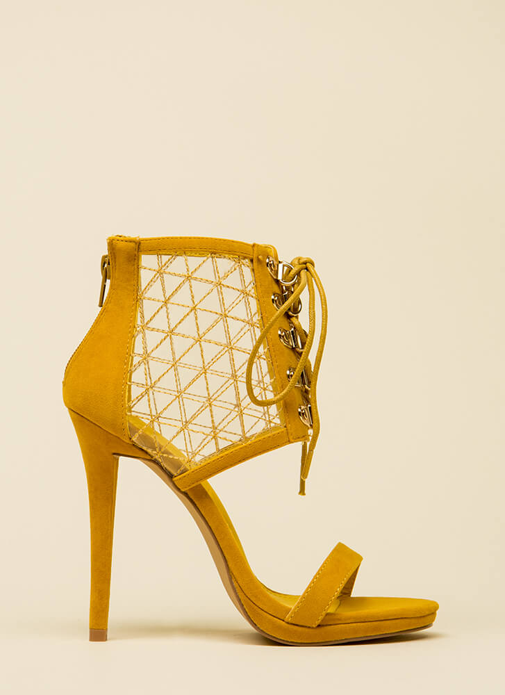 Clear Advantage Stitched Lace-Up Heels MUSTARD