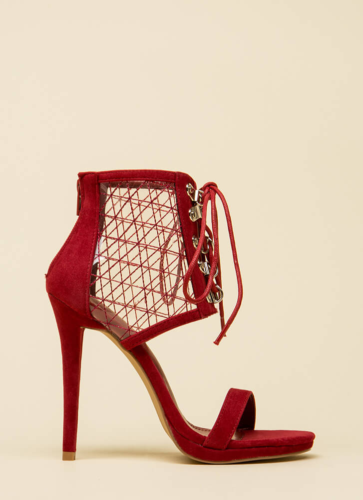 Clear Advantage Stitched Lace-Up Heels WINE