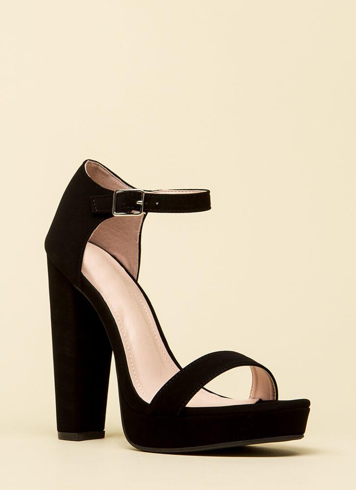 A Classic Chunky Ankle Strap Platforms BLACK (You Saved $24)