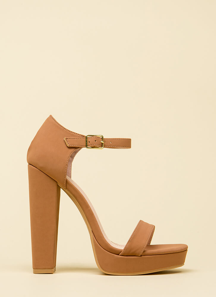 A Classic Chunky Ankle Strap Platforms TAUPE (You Saved $24)