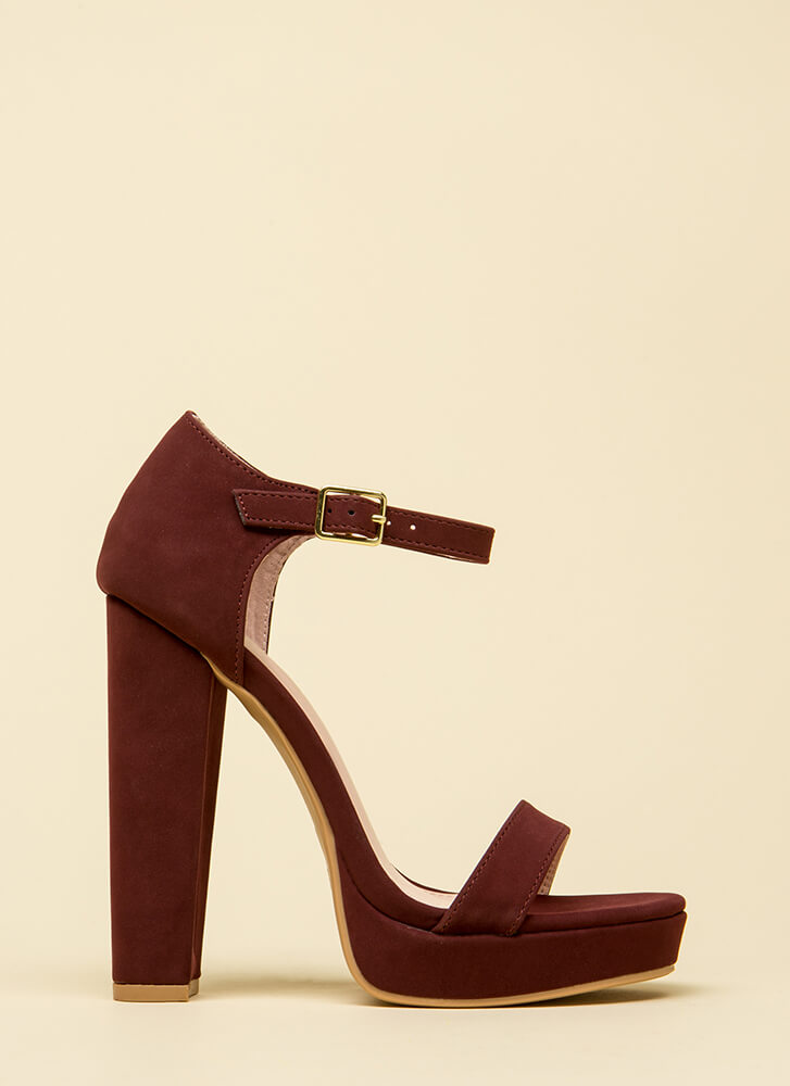 A Classic Chunky Ankle Strap Platforms WINE (You Saved $24)