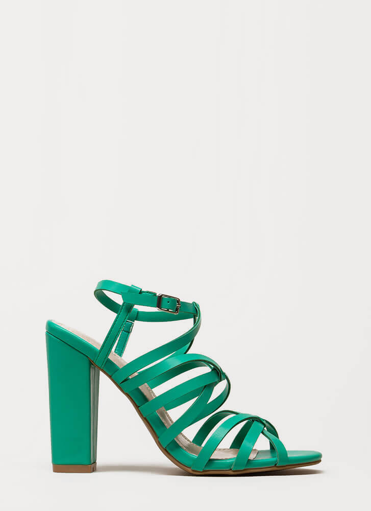 Do The Twist Strappy Chunky Heels GREEN