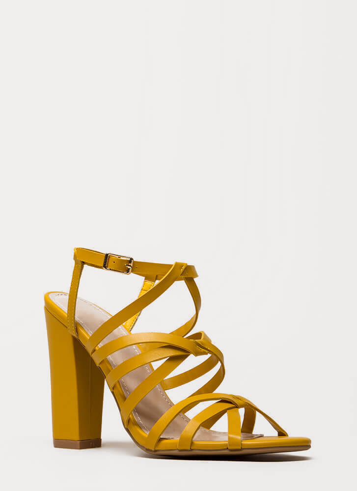 Do The Twist Strappy Chunky Heels MUSTARD