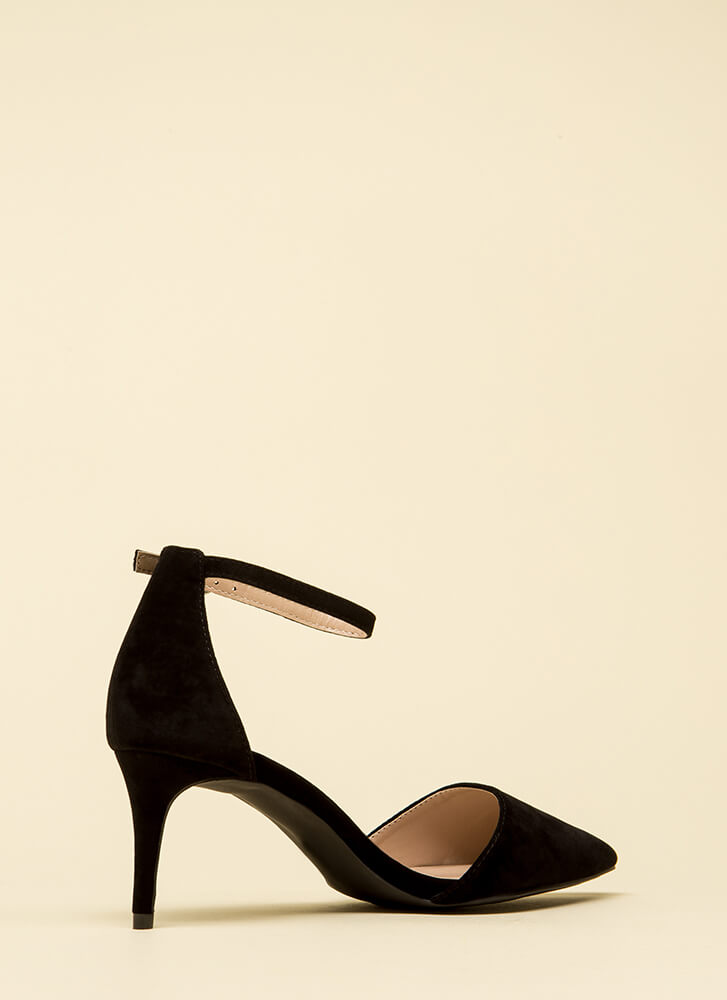 Short Walk Pointy Ankle Strap Heels BLACK