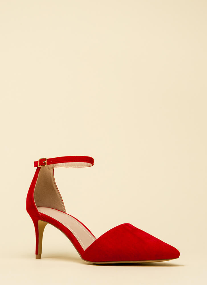 Short Walk Pointy Ankle Strap Heels RED
