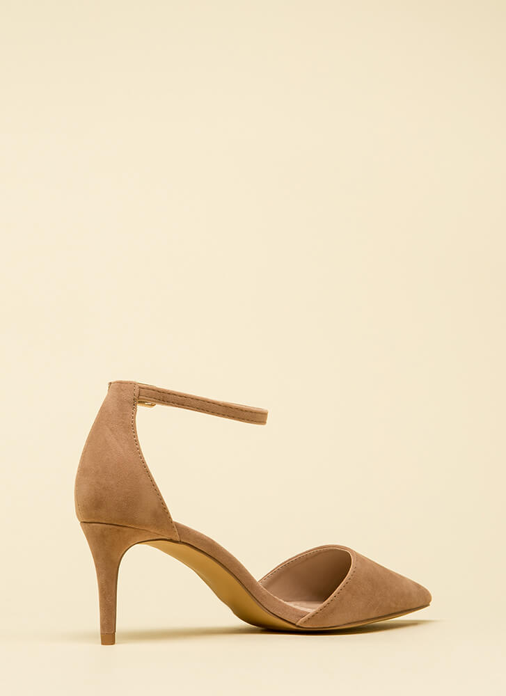 Short Walk Pointy Ankle Strap Heels TAUPE