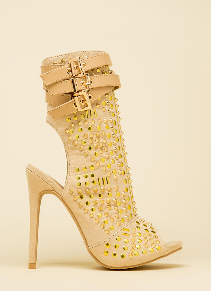 Dangerous Beauty Strappy Studded Booties NUDE
