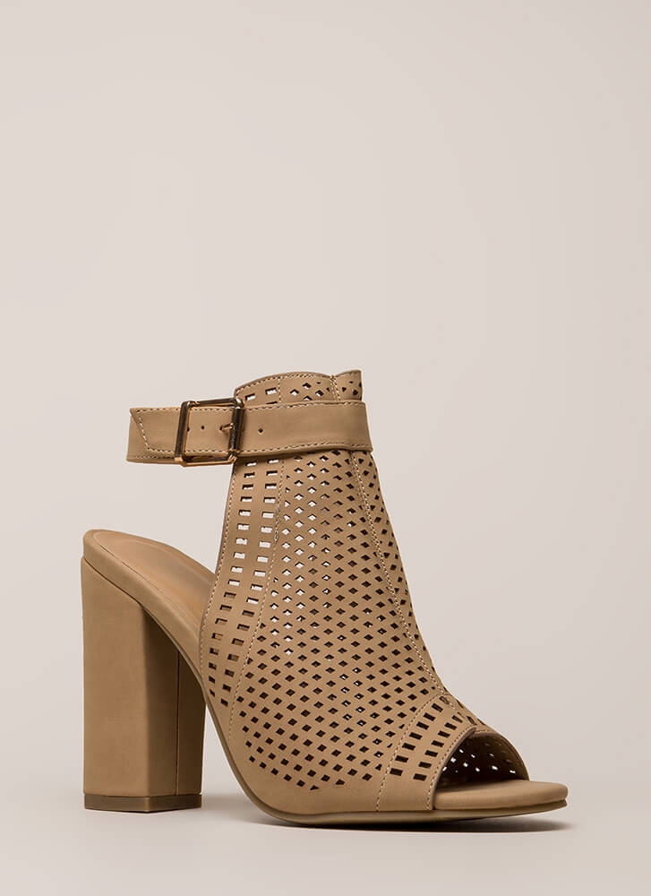 Style Influencer Latticed Chunky Heels NATURAL (You Saved $20)
