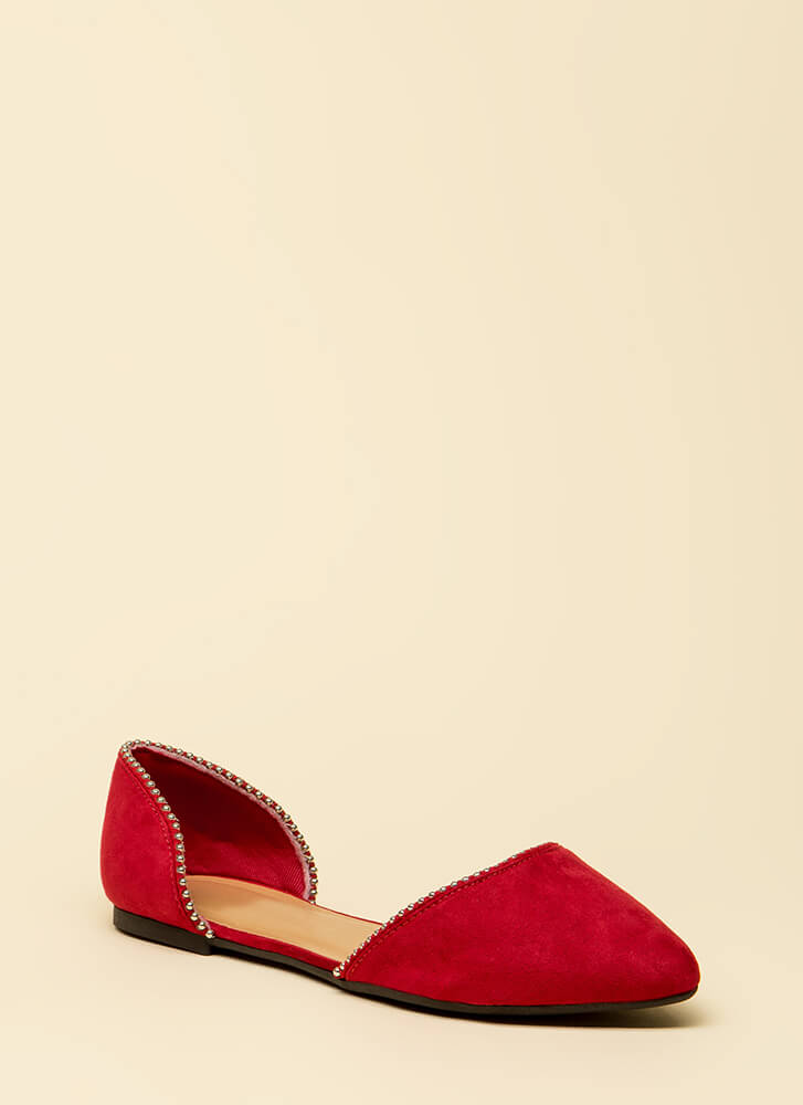 Slight Edge Studded Faux Suede Flats RED