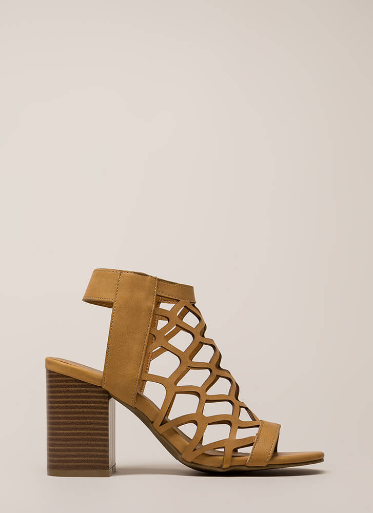 My New Honey Cut-Out Block Heels NATURAL