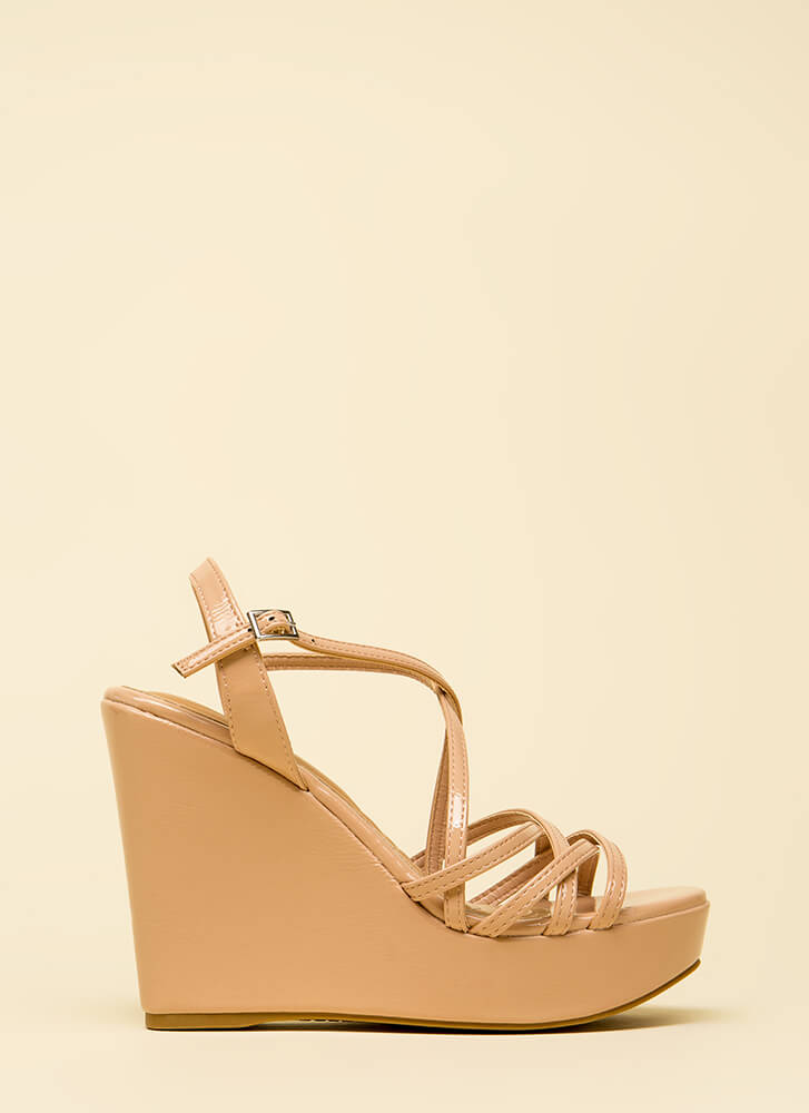 Strappy Medium Faux Patent Wedges NUDE