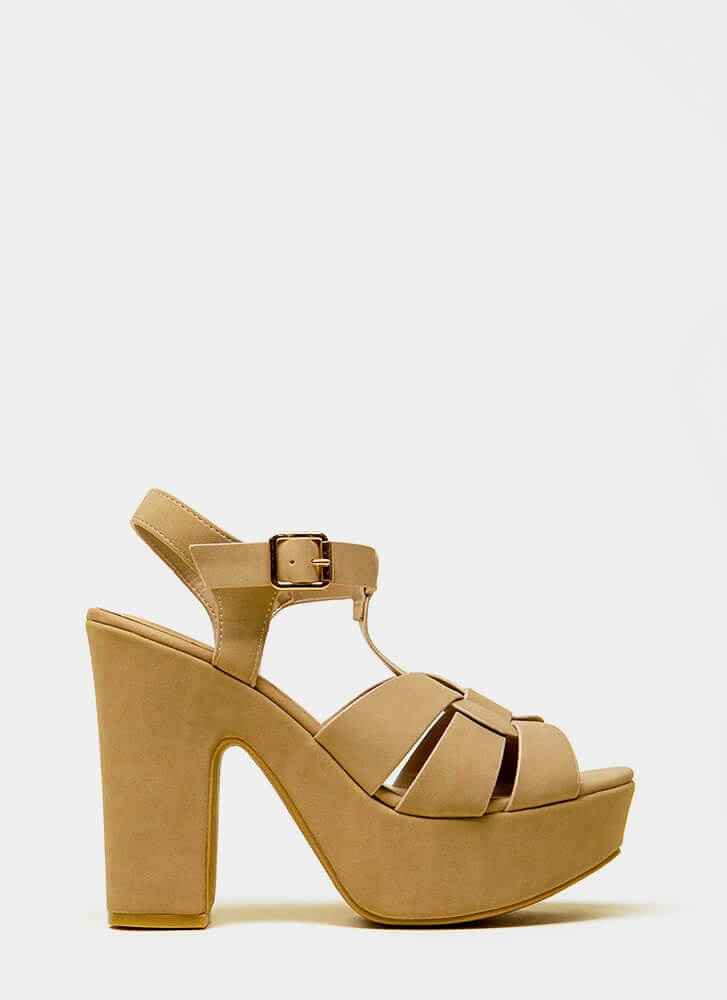 Feel The High Chunky Platform Heels NATURAL