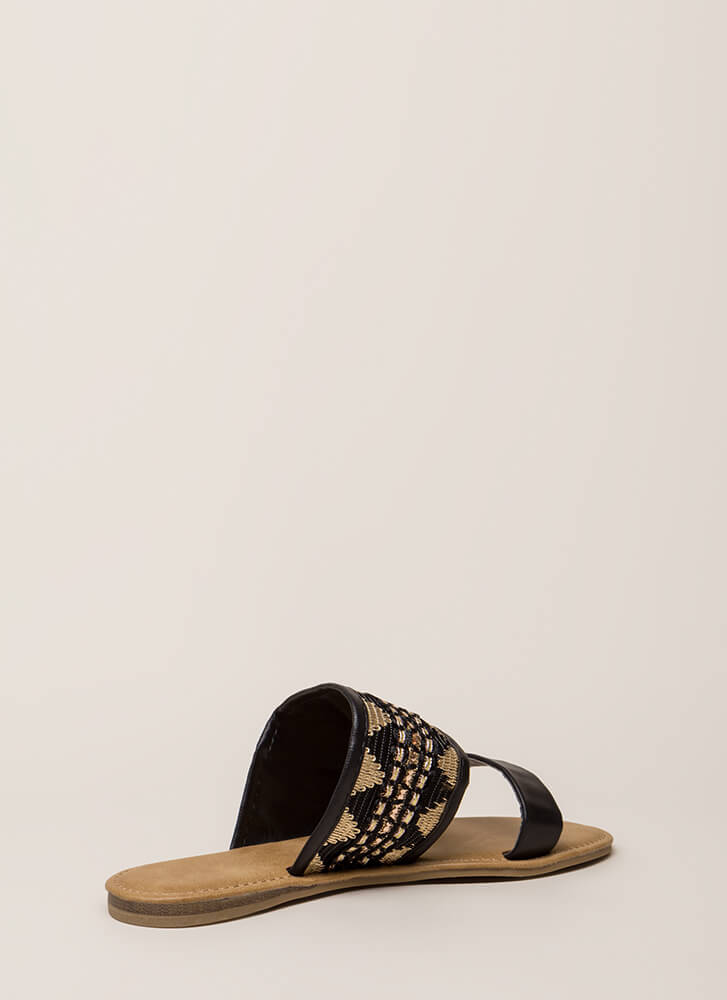 Happy Times Woven Slide Sandals BLACK