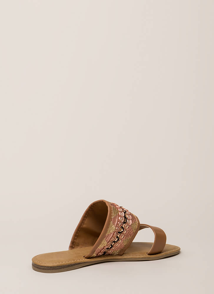 Happy Times Woven Slide Sandals TAN