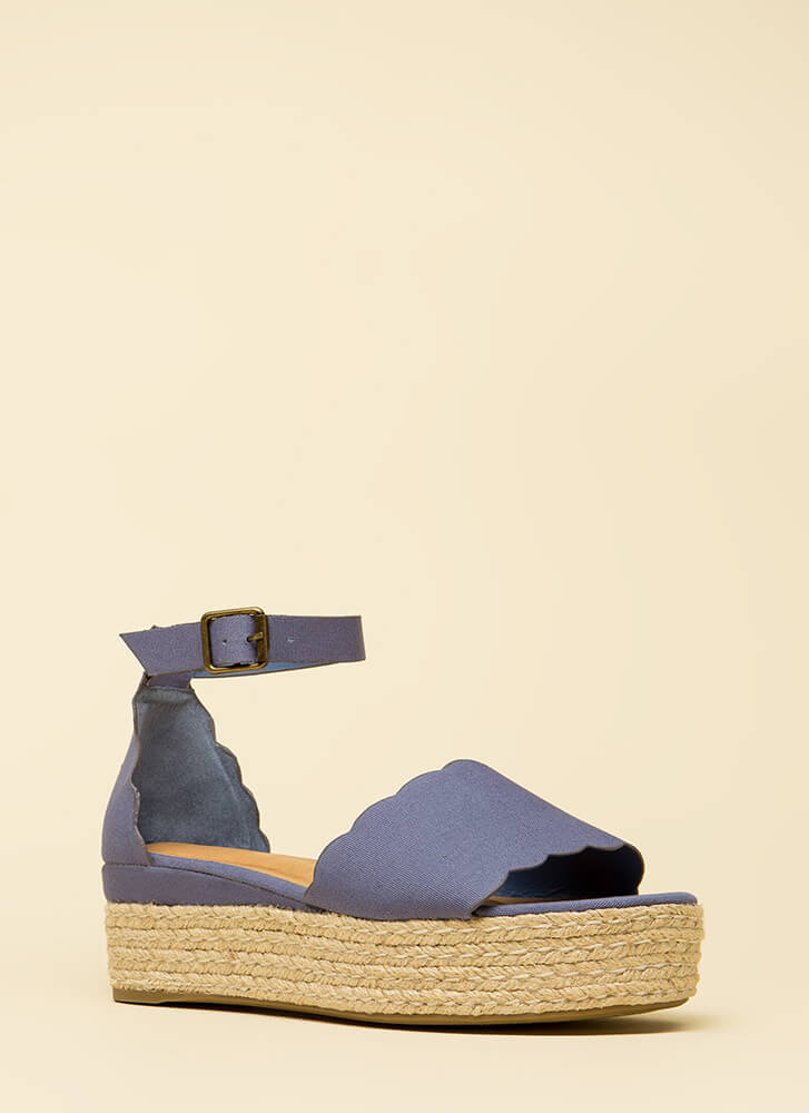 Cute Kid Denim Platform Sandals BLUE