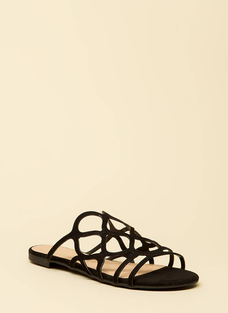 Staying Curvy Strappy Slip-On Sandals BLACK
