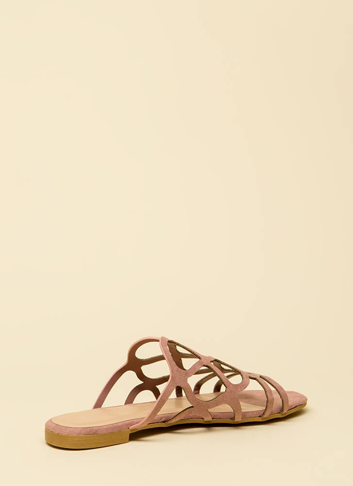 Staying Curvy Strappy Slip-On Sandals DKBLUSH