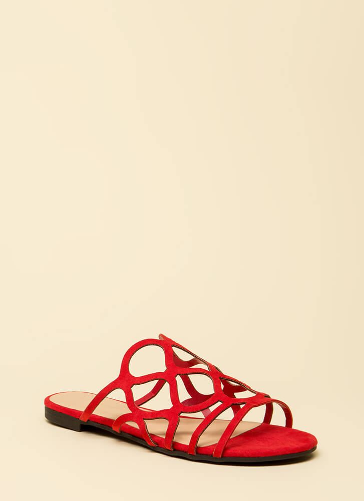 Staying Curvy Strappy Slip-On Sandals RED