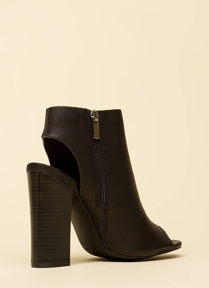 Rely On Me Cut-Out Peep-Toe Booties BLACK