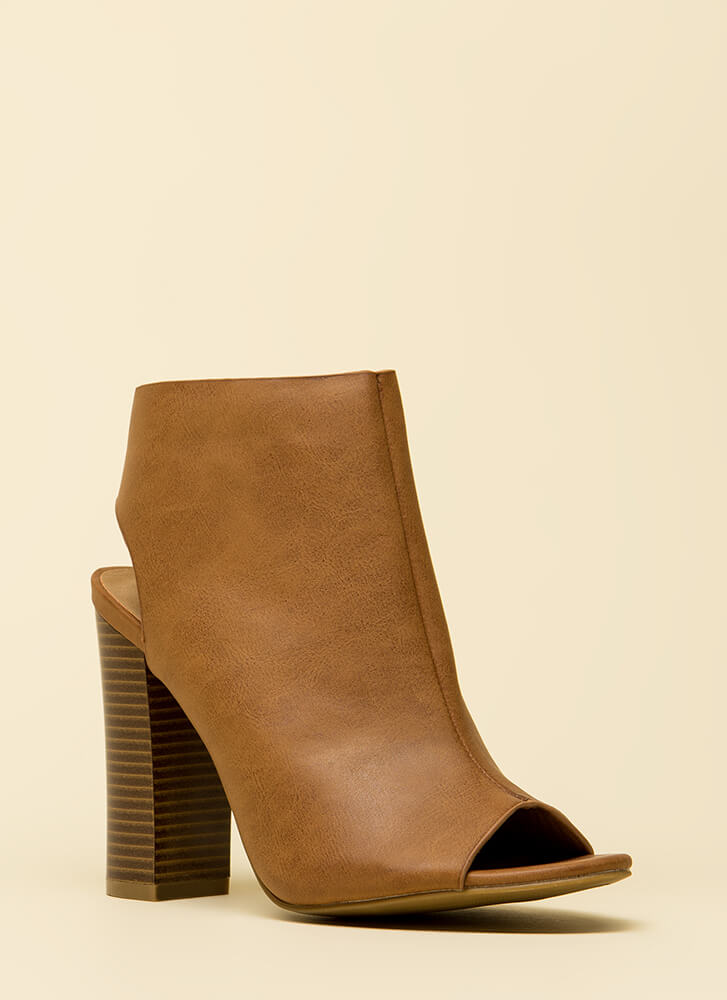 Rely On Me Cut-Out Peep-Toe Booties TAN