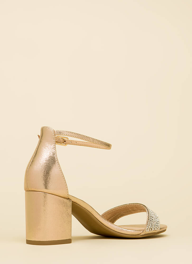 Time To Shine Metallic Block Heels GOLD (You Saved $15)