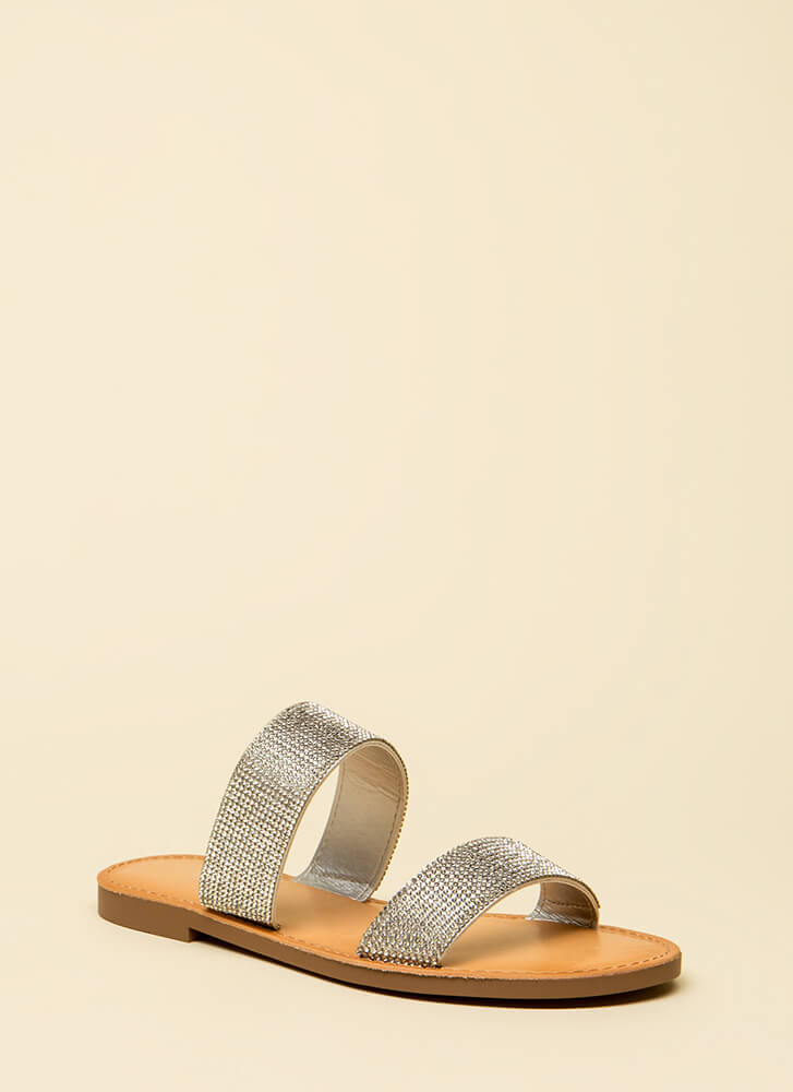 Time To Sparkle Rhinestone Slide Sandals SILVER