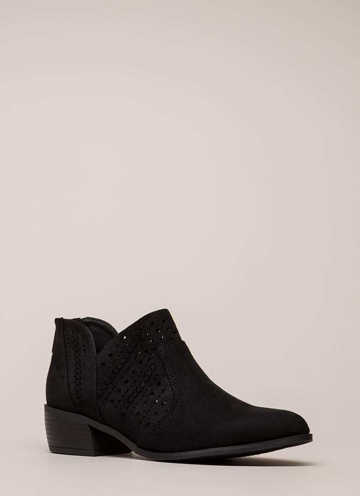 Latticed And Looped Block Heel Booties BLACK