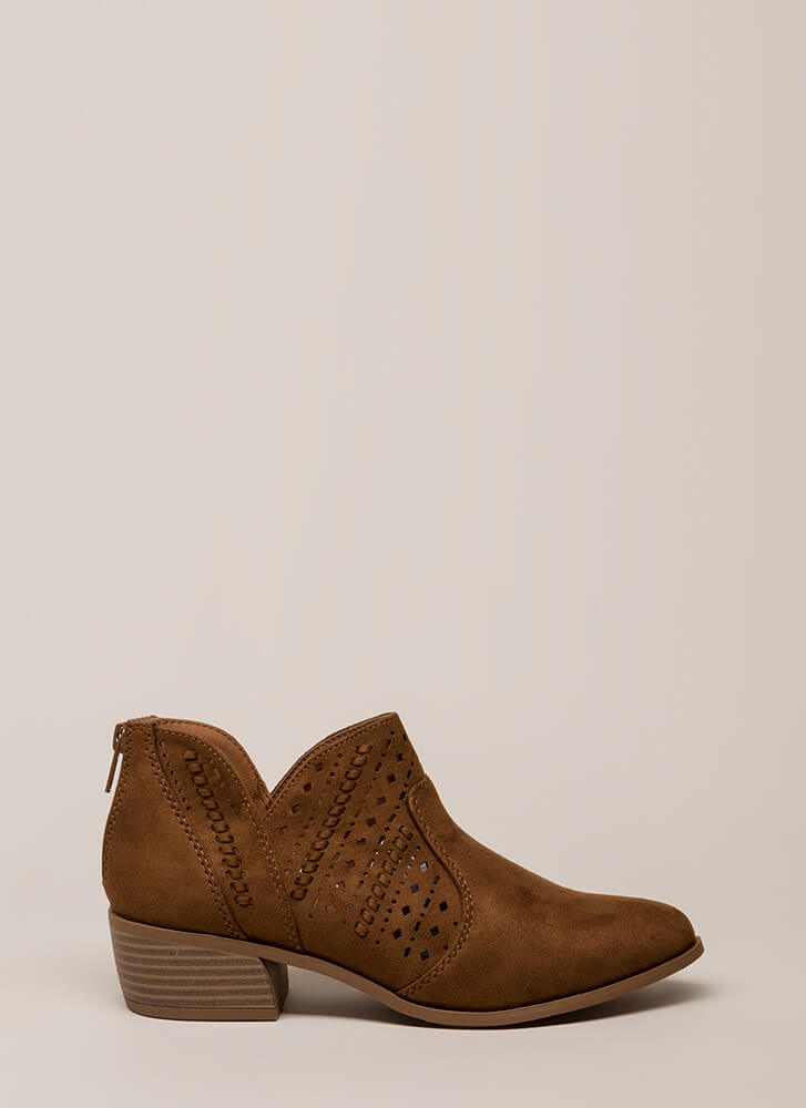 Latticed And Looped Block Heel Booties CHESTNUT