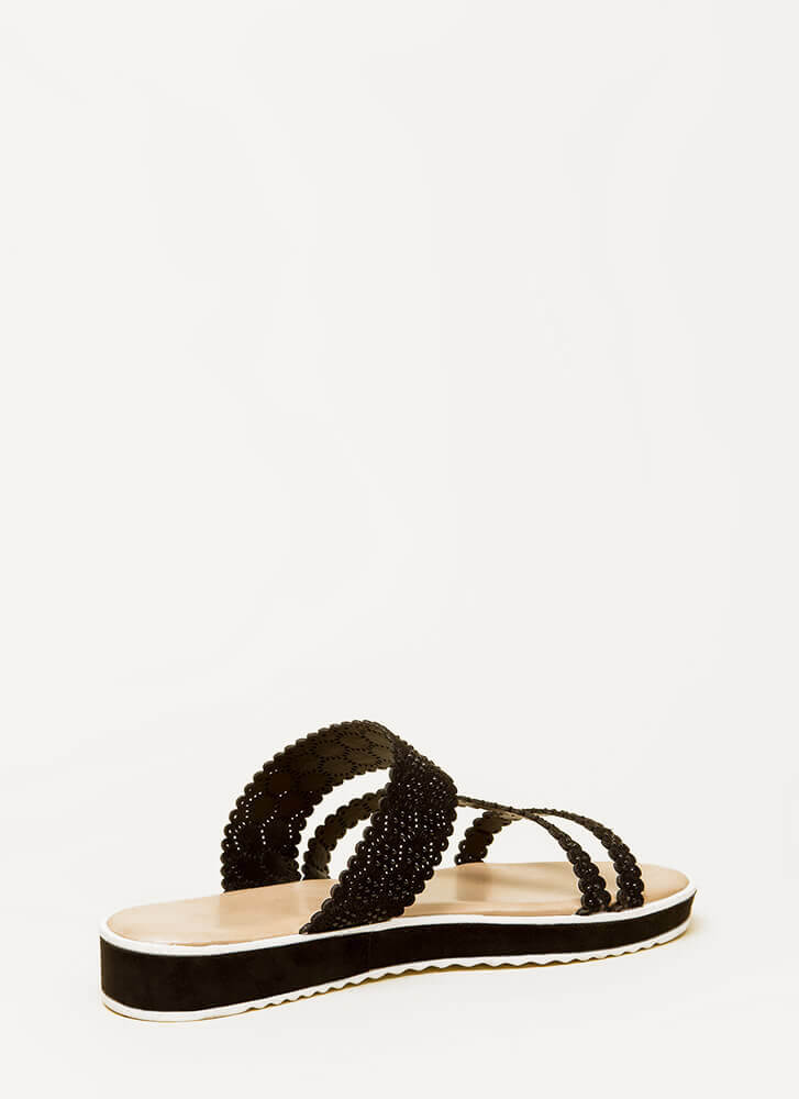 Good Mood Strappy Jeweled Slide Sandals BLACK