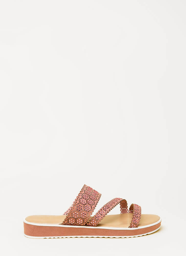 Good Mood Strappy Jeweled Slide Sandals MAUVE