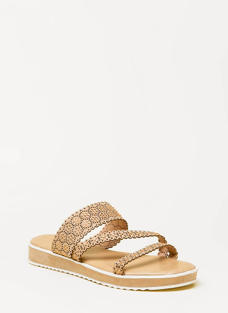Good Mood Strappy Jeweled Slide Sandals NUDE