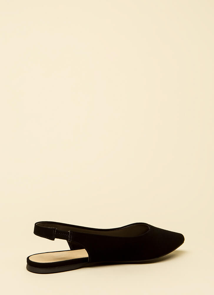 Too Easy Faux Nubuck Slingback Flats BLACK
