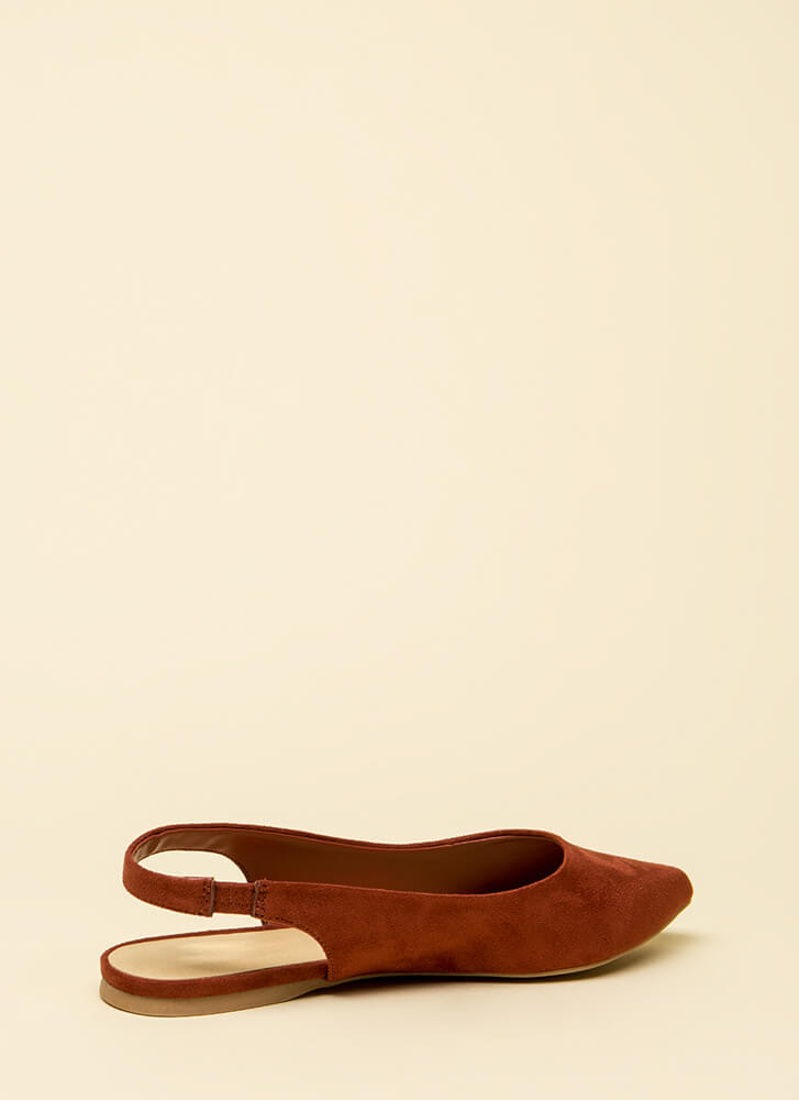 Too Easy Faux Suede Slingback Flats DKRUST