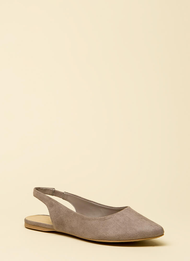 Too Easy Faux Suede Slingback Flats SOFTGREY