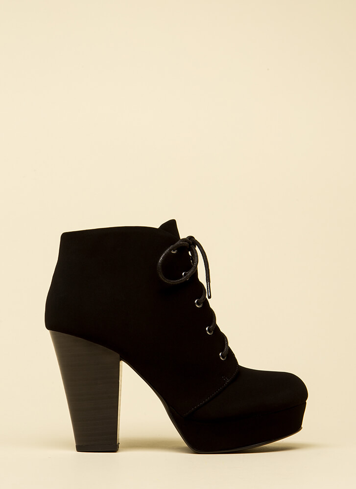 Style Agenda Lace-Up Platform Booties BLACK
