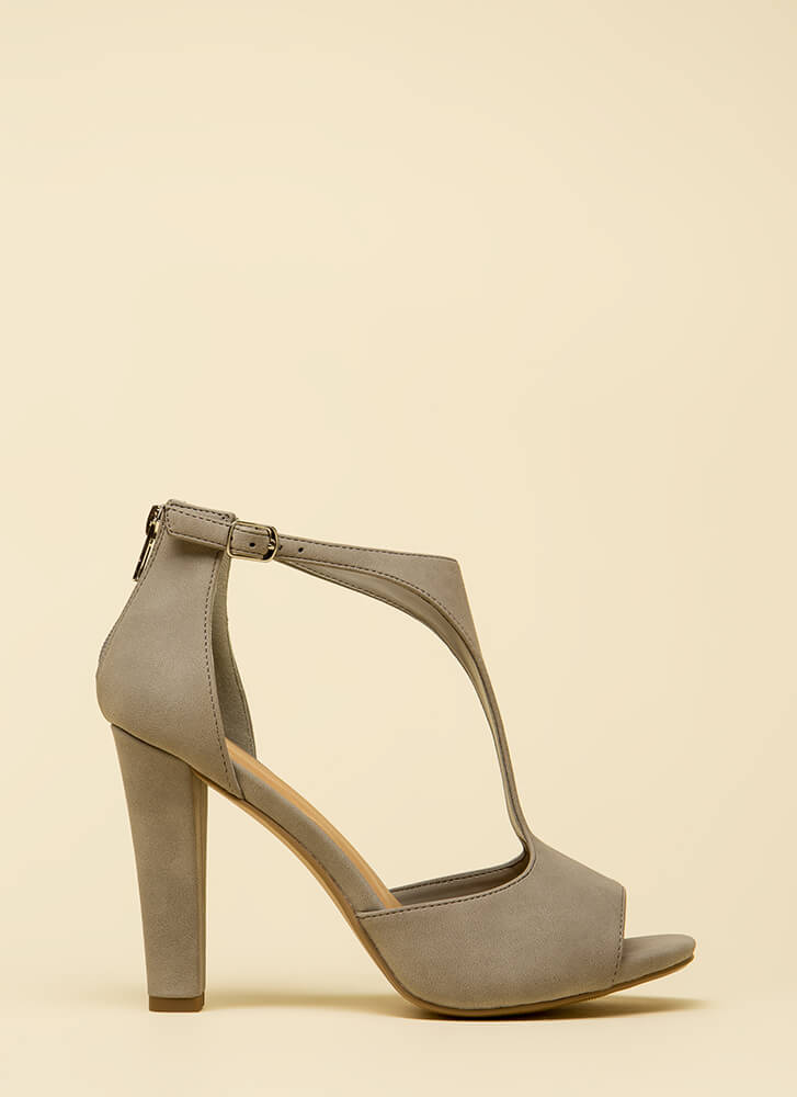 Taking Sides Cut-Out Faux Nubuck Heels LTGREY