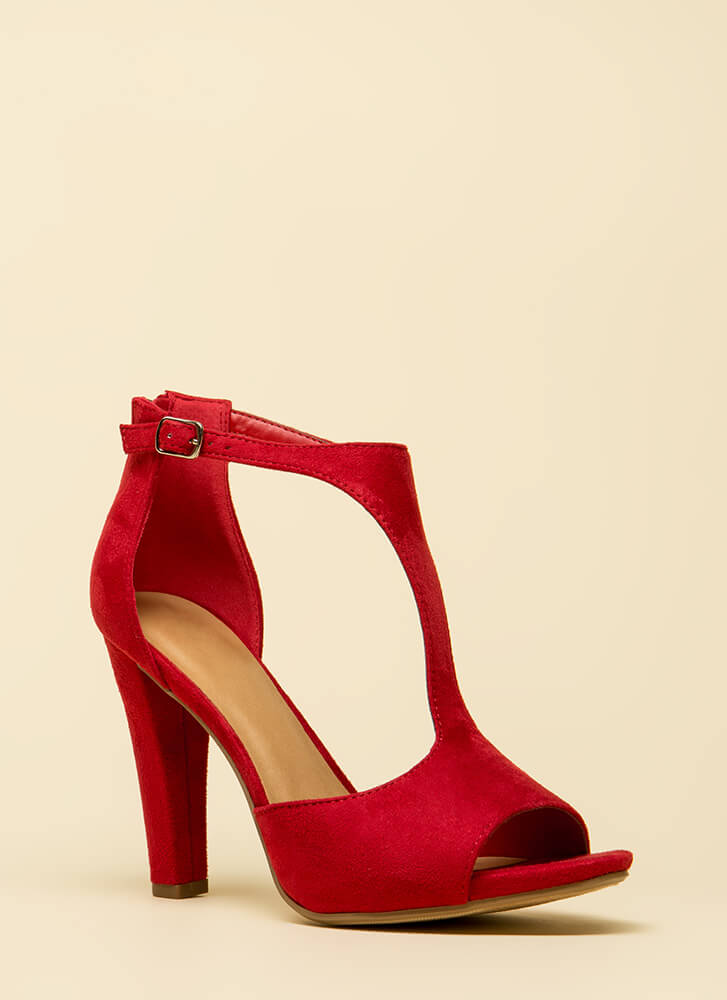 Taking Sides Cut-Out Faux Suede Heels BRIGHTRED