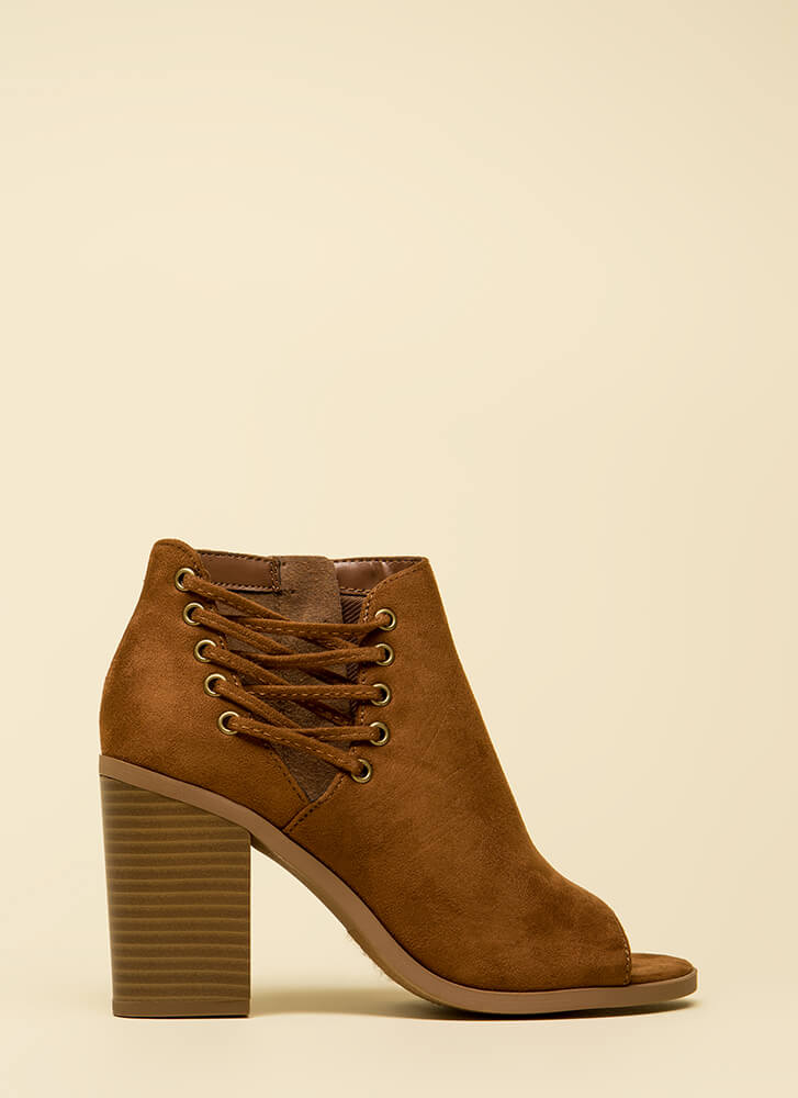 Laced With Style Chunky Peep-Toe Booties COGNAC